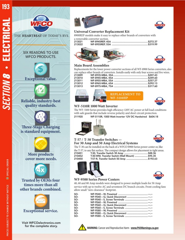 Page 196 - 2019-Catalog-Full  Wfco Converter Wiring Diagram on