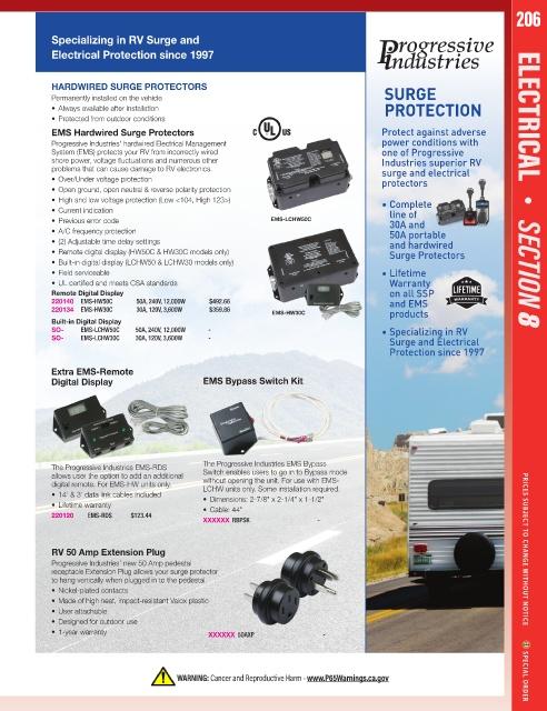 PROGRESSIVE INDUSTRIES RV14-50P Smart Surge Protector 240V//50A
