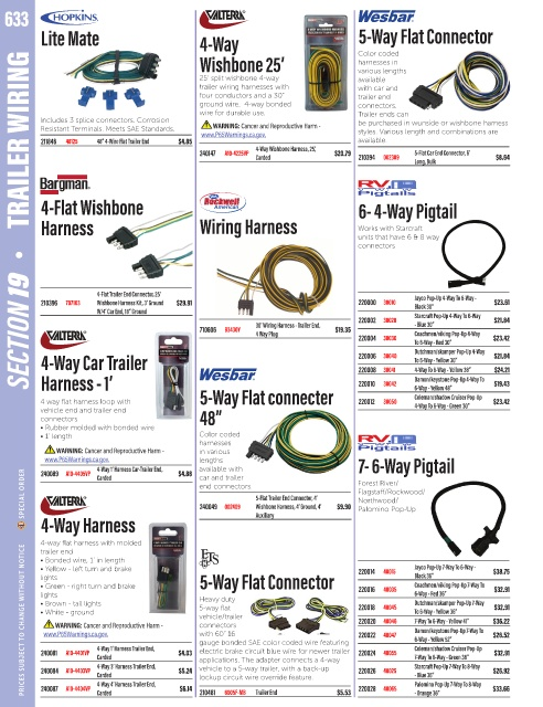 Page 636 - 2019-Catalog-Full  Way Trailer Wiring Harness Color Coding on